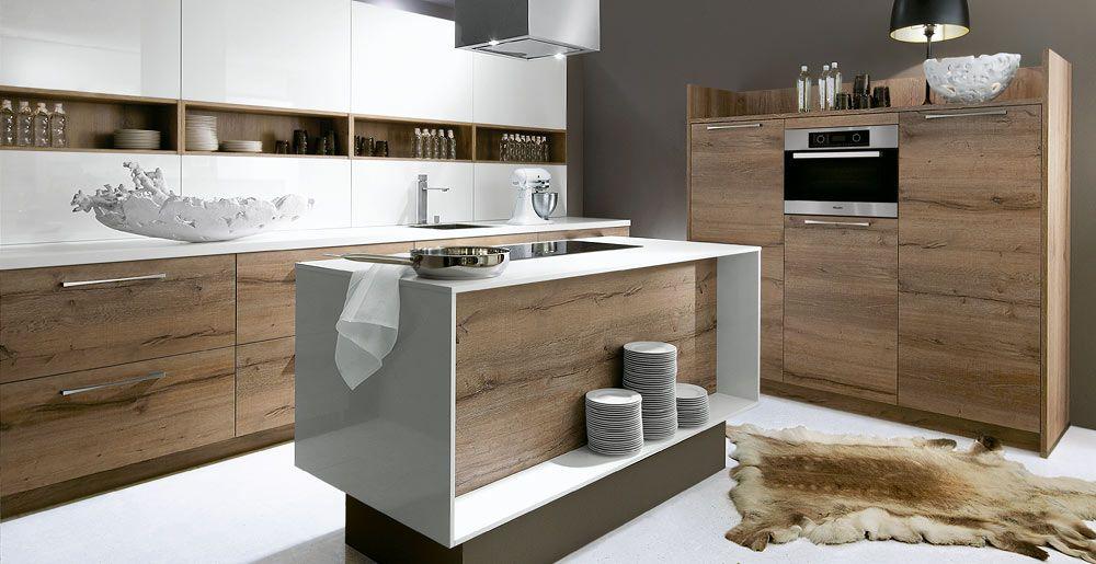 Schröder Küchen | Luce Optiwhite, Porto Woodline Eiche Pastis