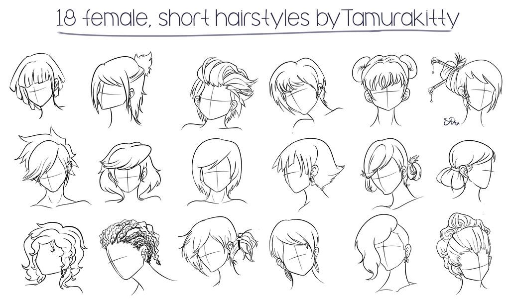 Hairstyles For Short Hair Drawing Manga Hair Female Anime Hairstyles Hair Sketch