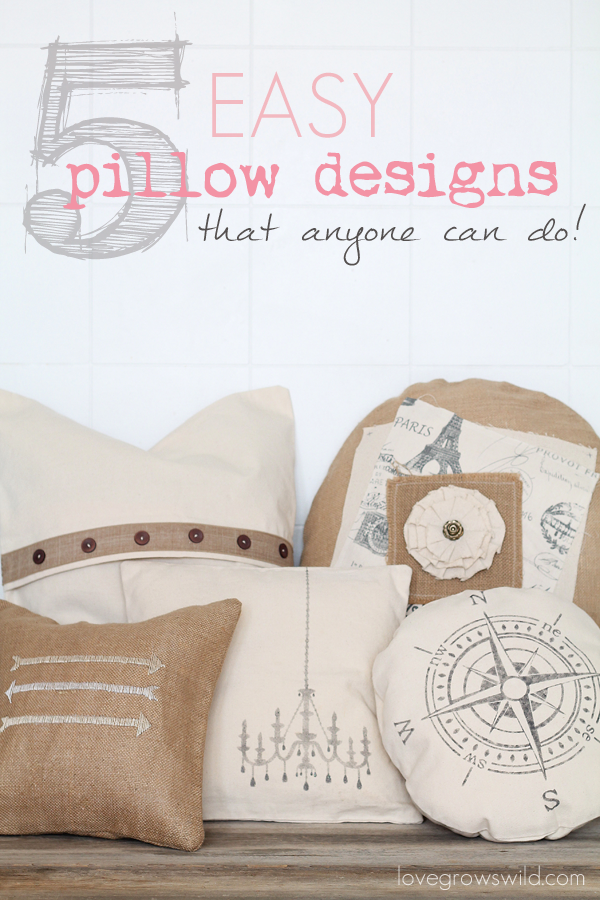 5 Easy Pillow Designs that ANYONE can do! No detailed sewing instructions no craft