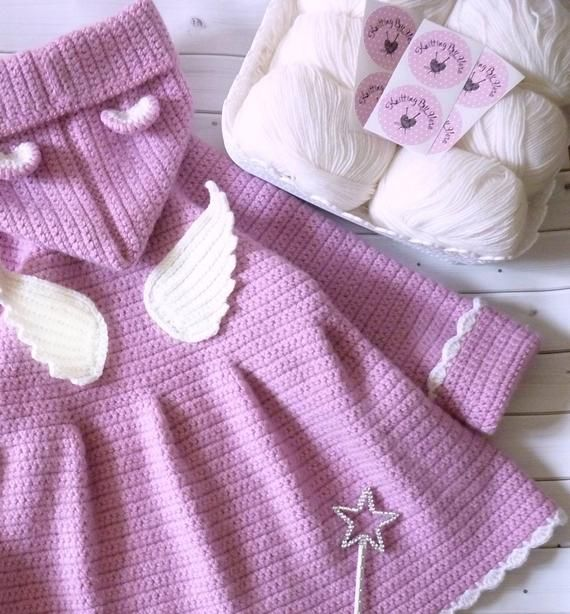 Bear hoodie coat for baby girl. Pink sweater angel wings. Toddler girls hooded coat. Warm fall girl clothes. Toddler girl halloween outfit