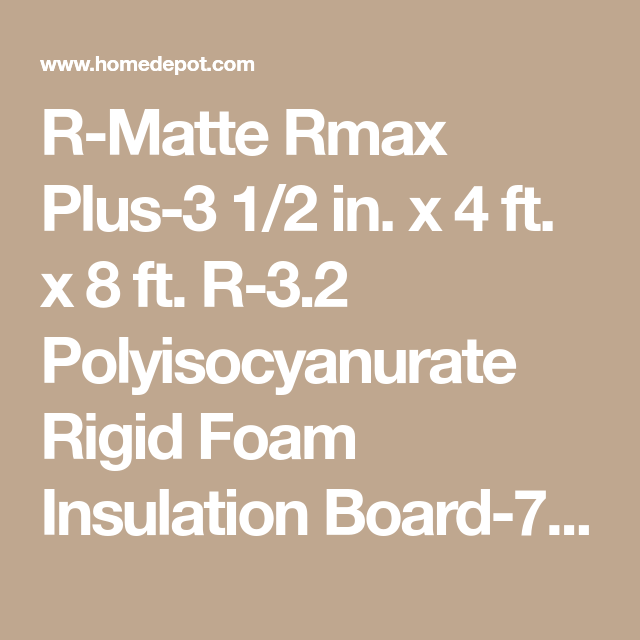 R Matte Rmax R Matte Plus 3 1 2 In X 4 Ft X 8 Ft R 3 2 Polyisocyanurate Rigid Foam Insulation Board 754404 The Home Depot Foam Insulation Board Rigid Foam Insulation Rigid Insulation