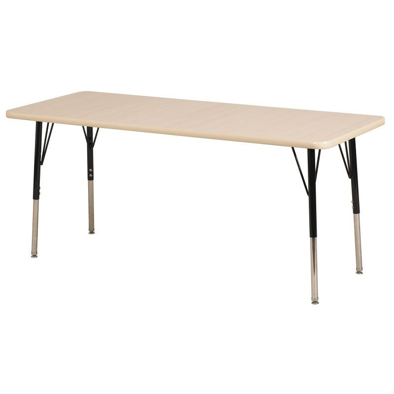 ECR4KIDS Maple Rectangle Adjustable Activity Table with Maple Edge - Standard Legs - 24L x 60W in.