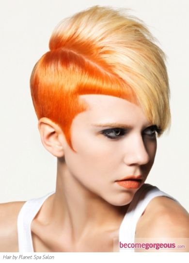 Pictures Punk Girl Hairstyles Orange Two Tone Hair Style Short Punk Hair Punk Hair Short Hair Styles