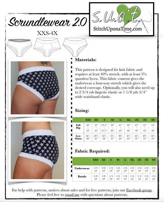 594f88124a14 Scrundlewear Ladies Underwear PDF Sewing Pattern, Boyshorts, Briefs and  More, XS-XXXL