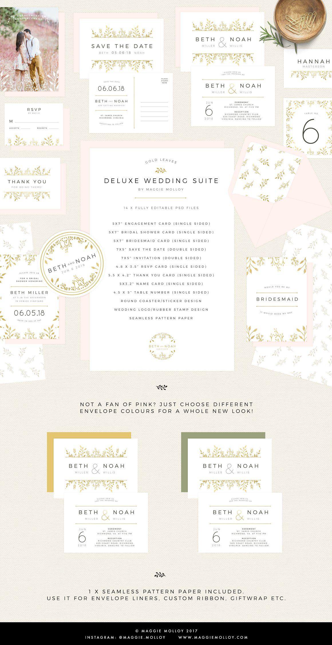 Gold Floral Wedding Invitation Suite - InvitationsDIY printable ...
