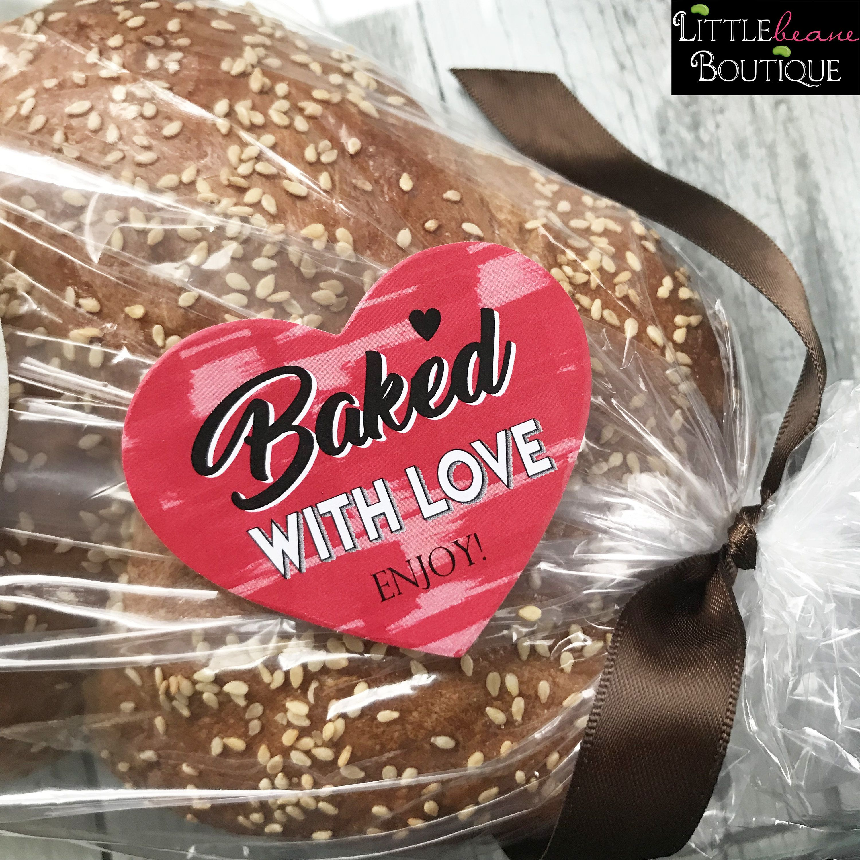 Baked with love stickers heart baking stickers heart baking labels