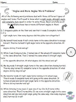 Geometry Matchups Plus Angles Word Problems Socrates Worksheets