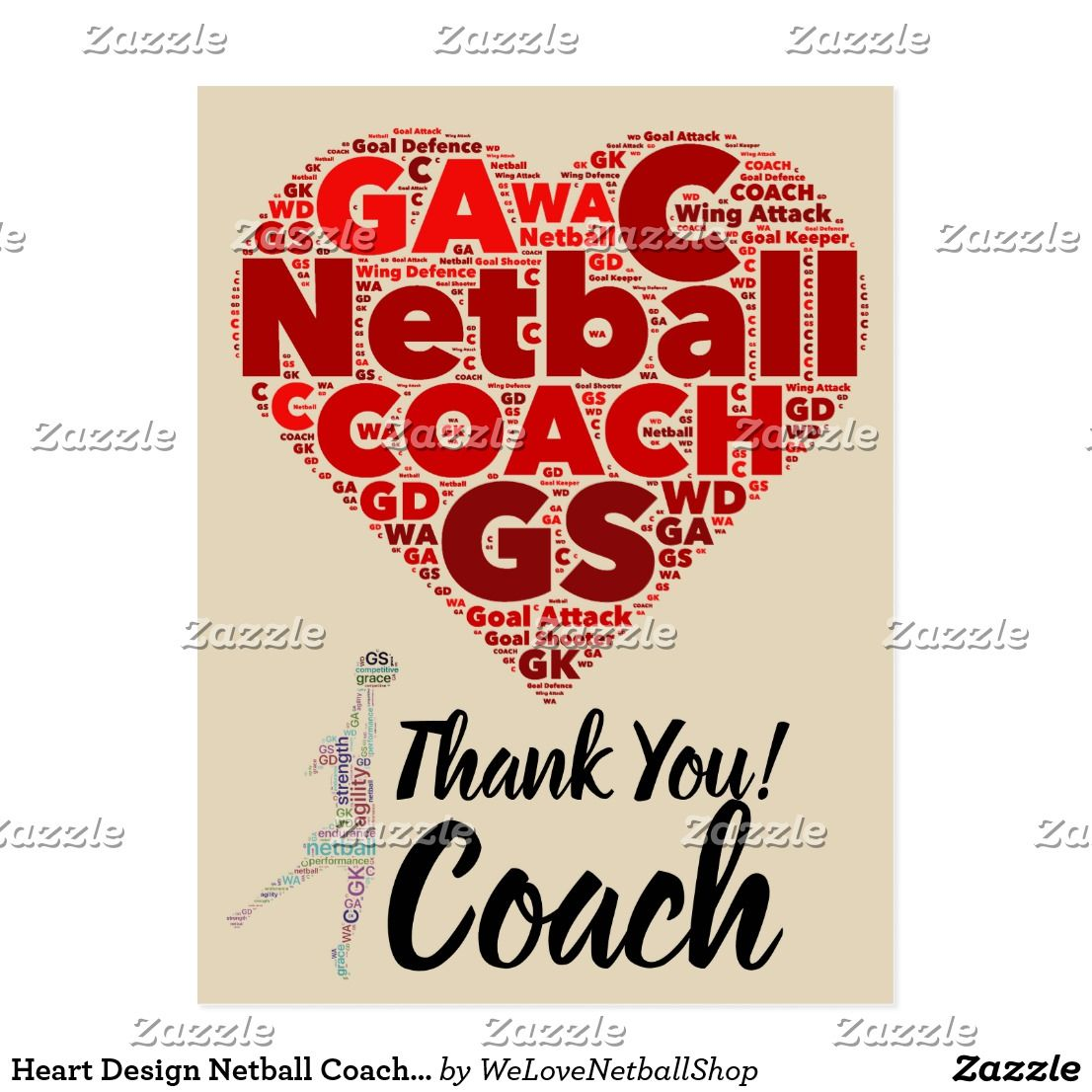 Heart Design Netball Coach Thank You Postcard Zazzle Com Thank