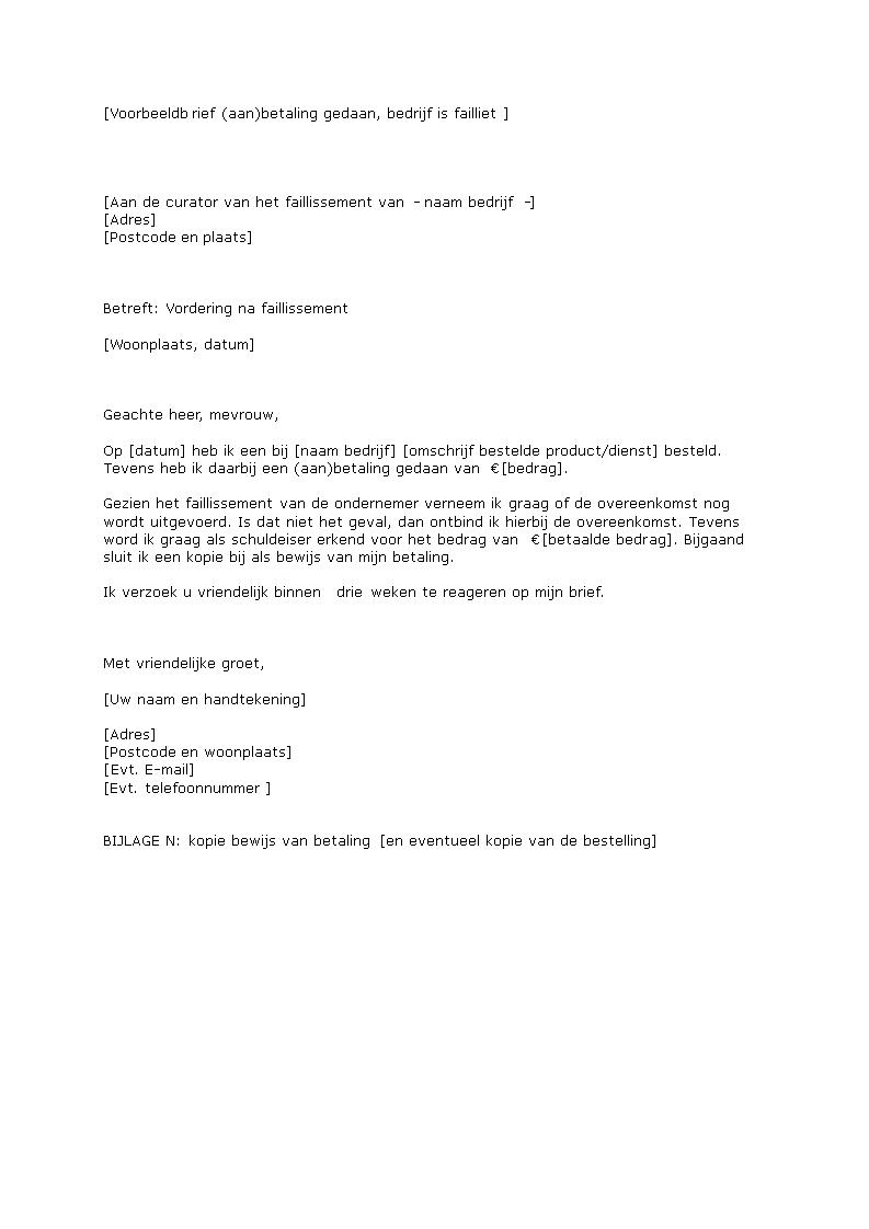 voorbeeldbrief bewijs van betaling Brief (Aan)Betaling Gedaan, Bedrijf Is Failliet   voorbeeldbrief  voorbeeldbrief bewijs van betaling