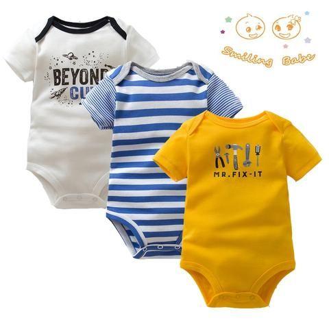 e9146dd3d6ec7 3PCS/LOT Soft Cotton Baby Bodysuit Fashion Baby Boys Girls Clothes Infant  Jumpsuit Overalls Short Sleeve Newborn Baby Clothing