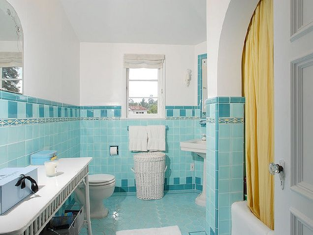 Vintage Tile Scrapbook Aqua Bathroom Decor Vintage Bathroom