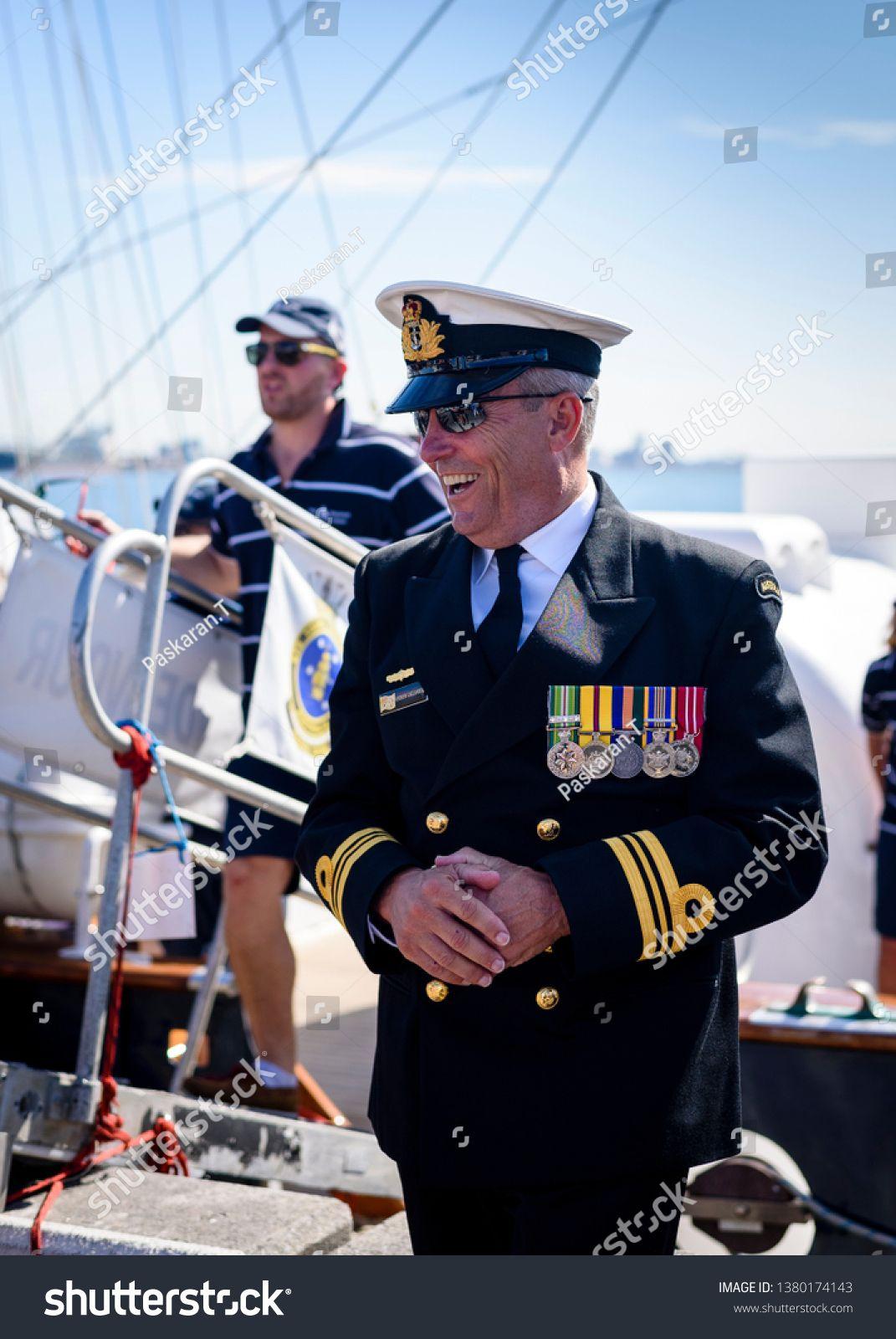 Newcastle New South Wales Australia 25 April 2019 Captain Of Young Endeavour Ship Lieutenant Commander Andrew Callander New South Wales Newcastle Anzac Day