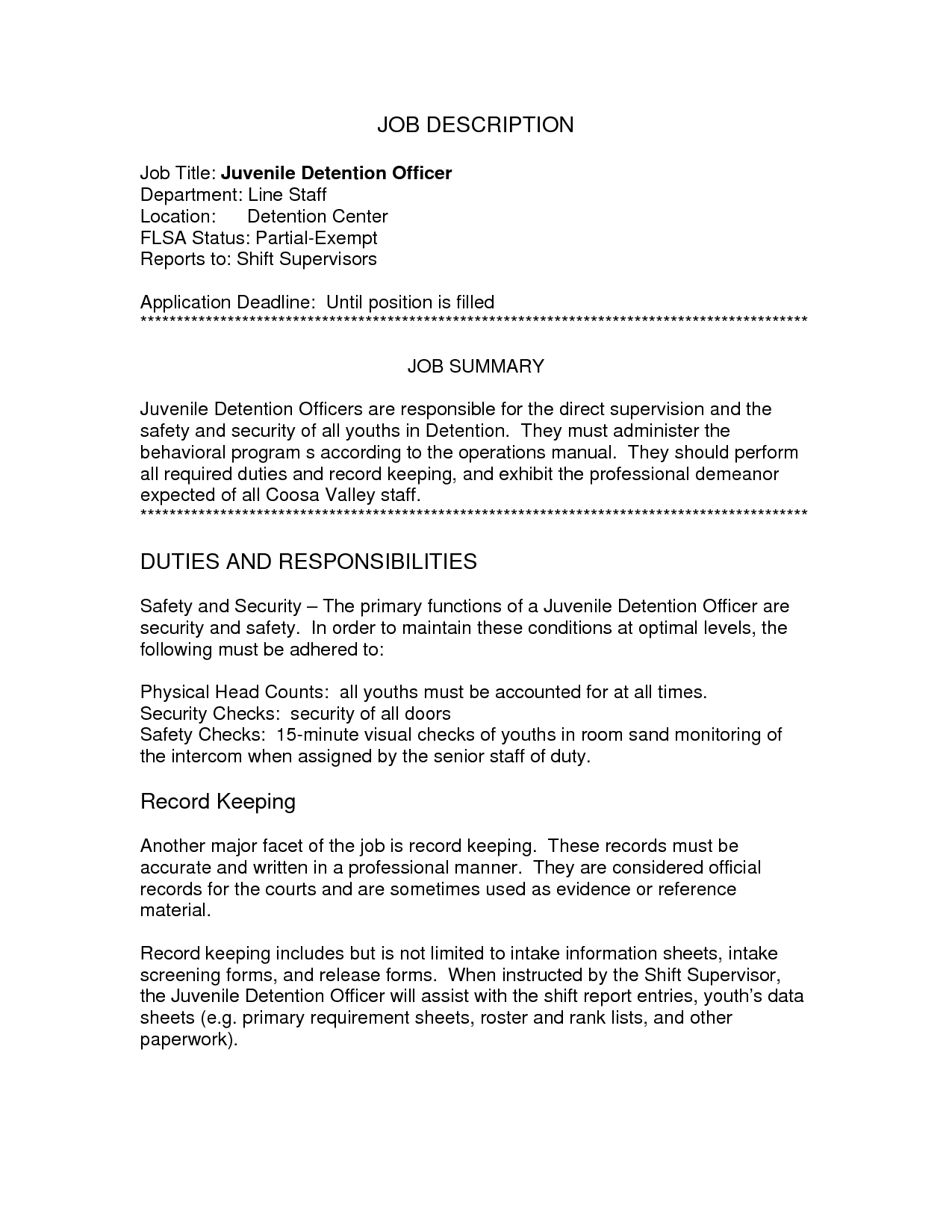 Juvenile Detention Officer Resume Objective  HttpWww