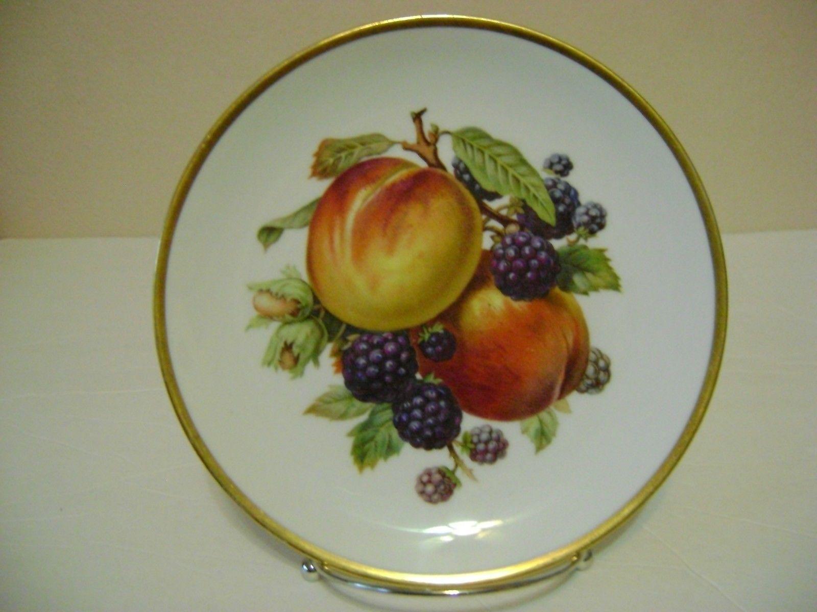 Mitterteich Bavaria Germany Fruit Plates Gold Trim