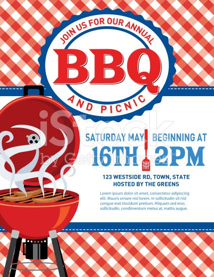 Bbq Invitation Template On A Checkered Tablecloth There Is An