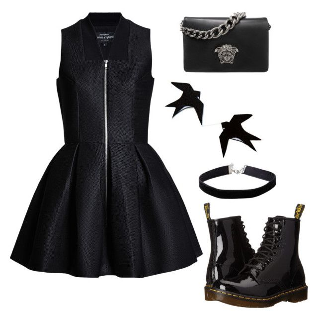 """Sin título #138"" by vero-lightwood34 on Polyvore featuring moda, Dr. Martens, Versace y Miss Selfridge"