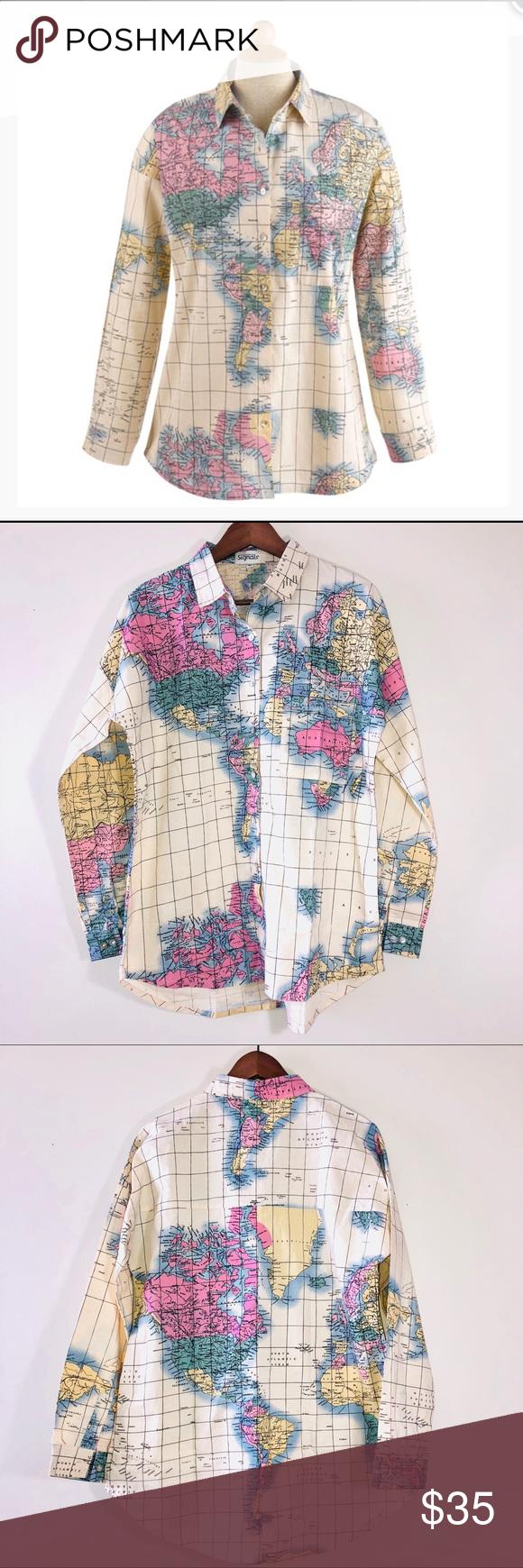 World Map Button Down Shirt.Signals World Map Button Down Shirt Medium Signals World Map Button