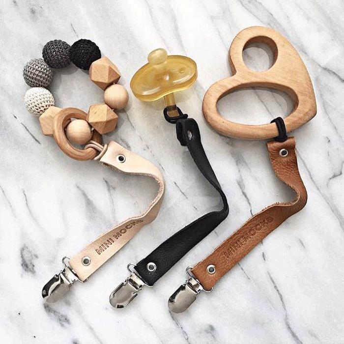 Schnullerclips clips de madera bebé clips muchos colores con opción de color