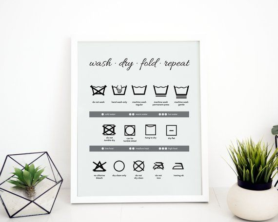 Laundry Symbols Wall Art Laundry Digital Download Laundry Wall