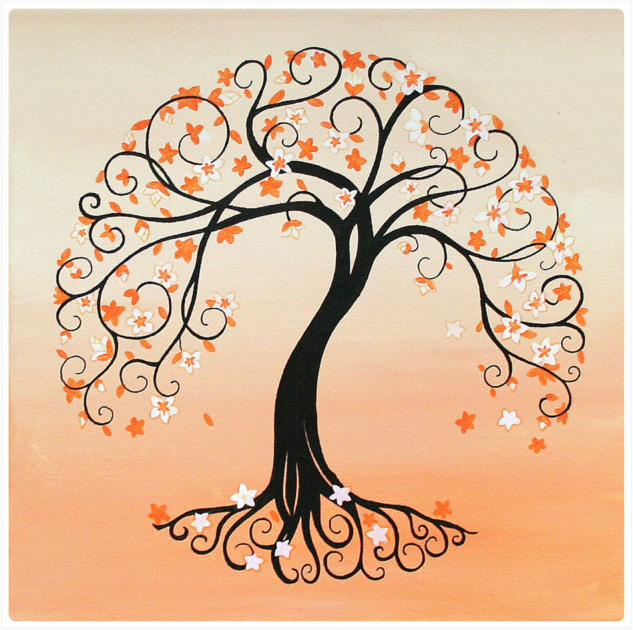 A la demande de Karine de C´té coeur je me suis penchée sur le th¨me de l arbre de vie Elle désirait une illustration pour orner le centre de ses