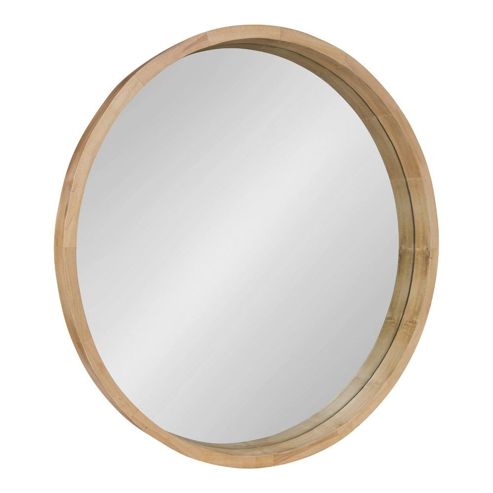 30 X 30 Hutton Round Wood Wall Mirror Natural Kate And Laurel Wood Wall Mirror Framed Mirror Wall Contemporary Mirror