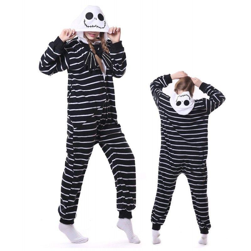 8093f9a65c Unisex Jack Skellington Onesie Pajama Animal Costumes For Women   Men