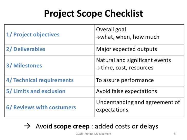 Project Scope Checklist Overall Goal Project Objectives What