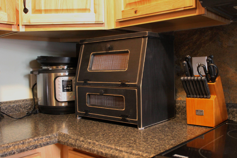 Wood Bread Box Rustic Black Antiqued Vegetable Bin wooden