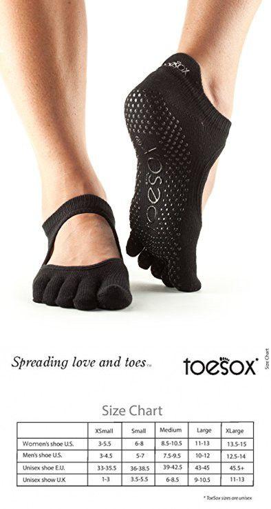 Toesox Womens Grip Pilates Barre Socks-Non Slip Ankle Full Toe for Yoga /& Ballet