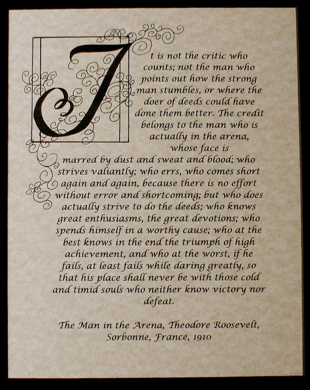 Print, The Man in the Arena, Quote by Theodore Roosevelt, Calligraphy Custom,