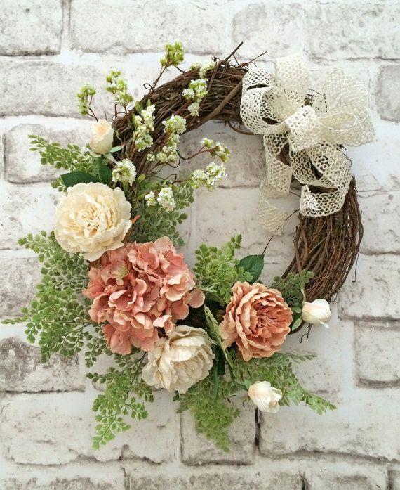 Spring Wreath Front Door Wreath Silk Floral Wreath Grapevine