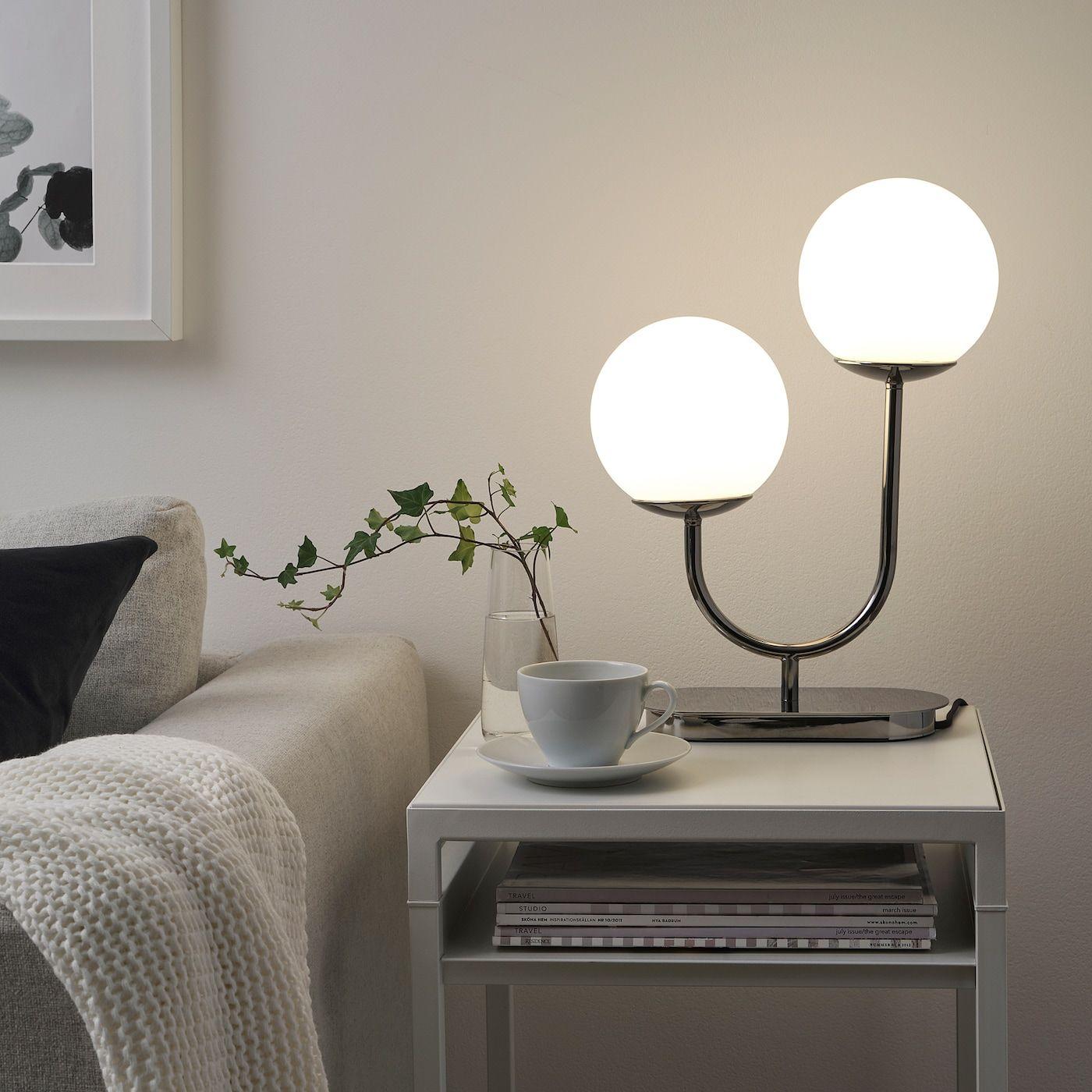 Simrishamn Tischleuchte Verchromt Opalweiss Glas Ikea Osterreich In 2020 Moderne Beleuchtung Ikea Lampen Tischleuchte
