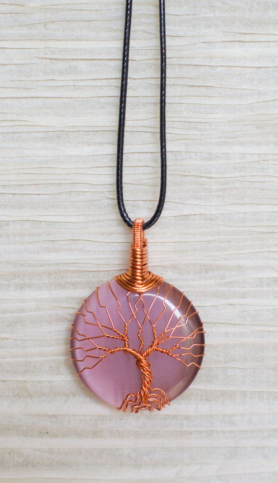 Copper Wire Wrap Tree of Life pendant Purple Cats Eye Glass Pendant Wire Wrapped with Copper