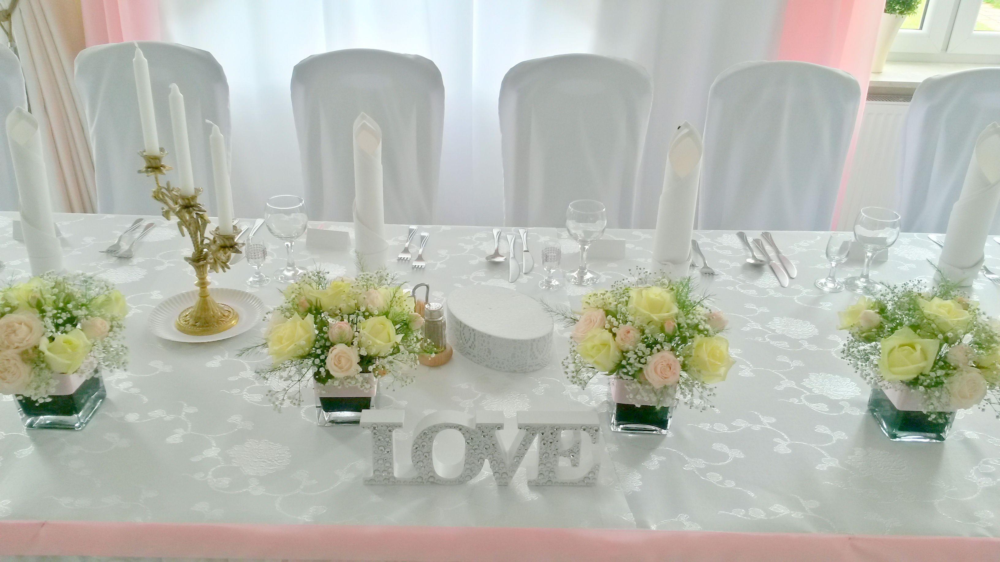 dekoracja stołu Młodej Pary Topaz-dekoracje Biała Podlaska