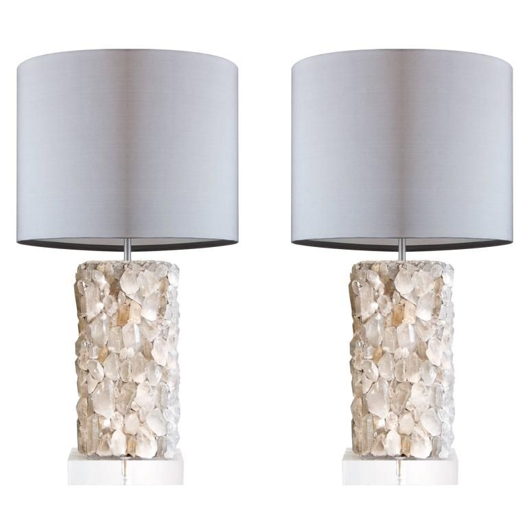 crystal lamps for sale. Pair Of Rock Crystal Lamps On Custom Bases For Sale At 1stdibs