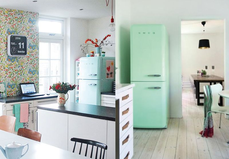 frigo smeg vert d 39 eau kitchen love it pinterest. Black Bedroom Furniture Sets. Home Design Ideas