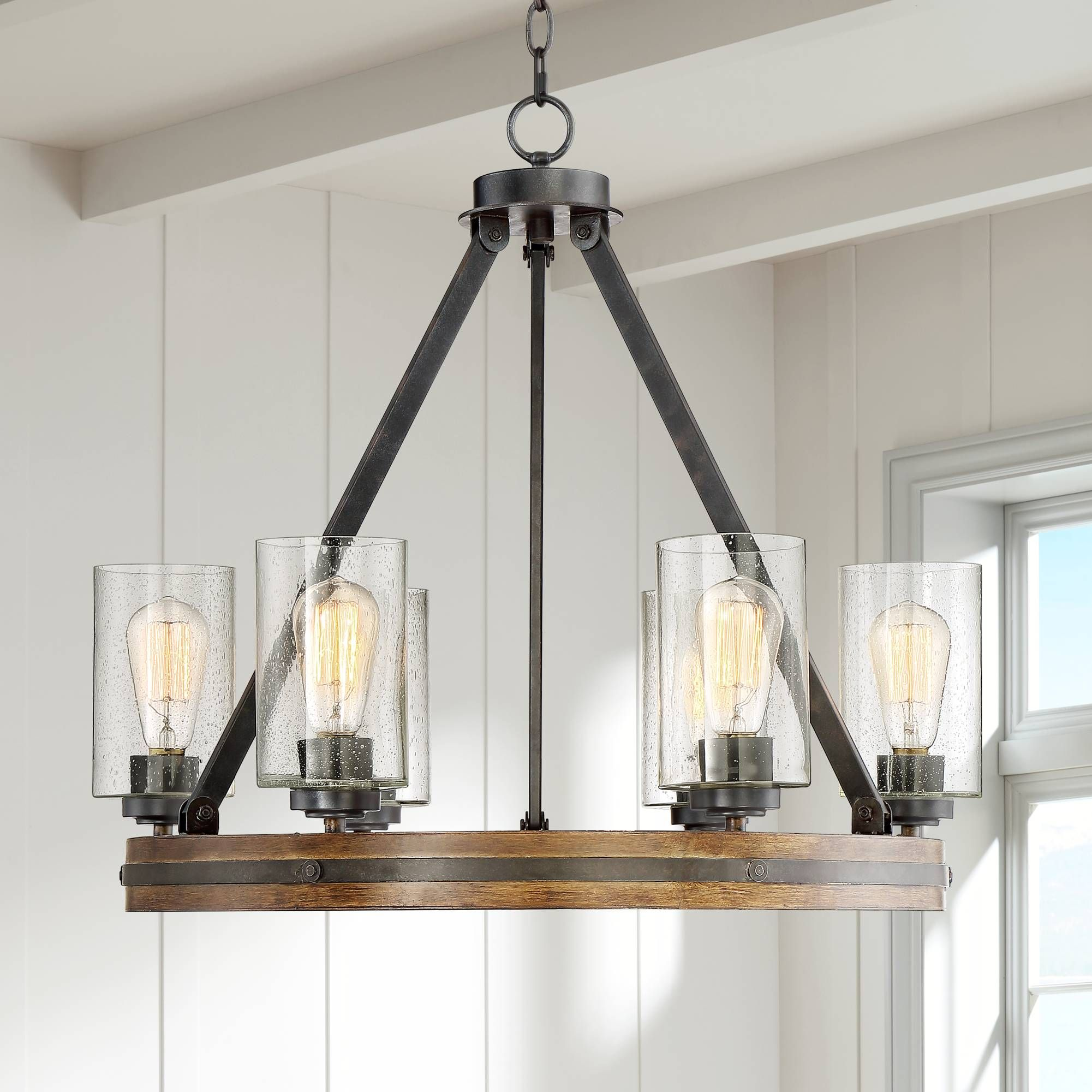 "25 Elegant And Exquisite Gray Dining Room Ideas: Gorham 25"" Wide 6-Light Wagon Wheel Chandelier"