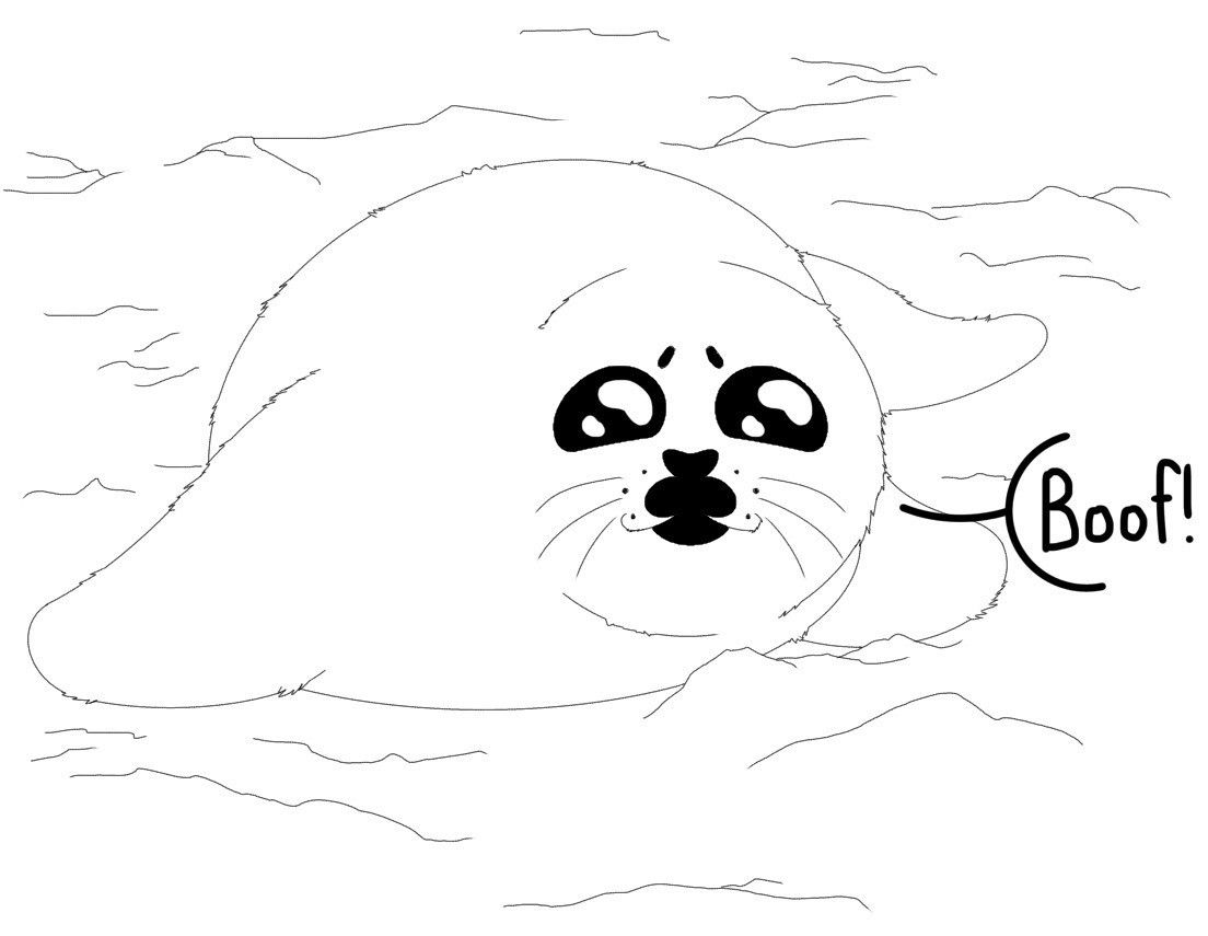 Baby Seal Coloring Page Drawn By Alexis K For March Of The Blanketeers Coloring Pages Baby Seal Cards