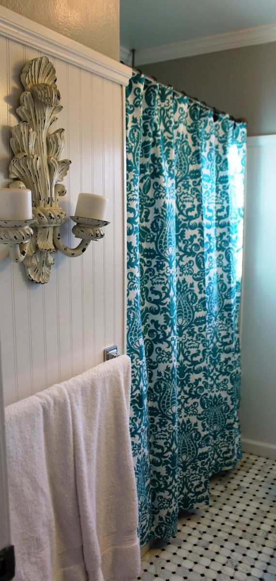 etsy i love teal shower curtains