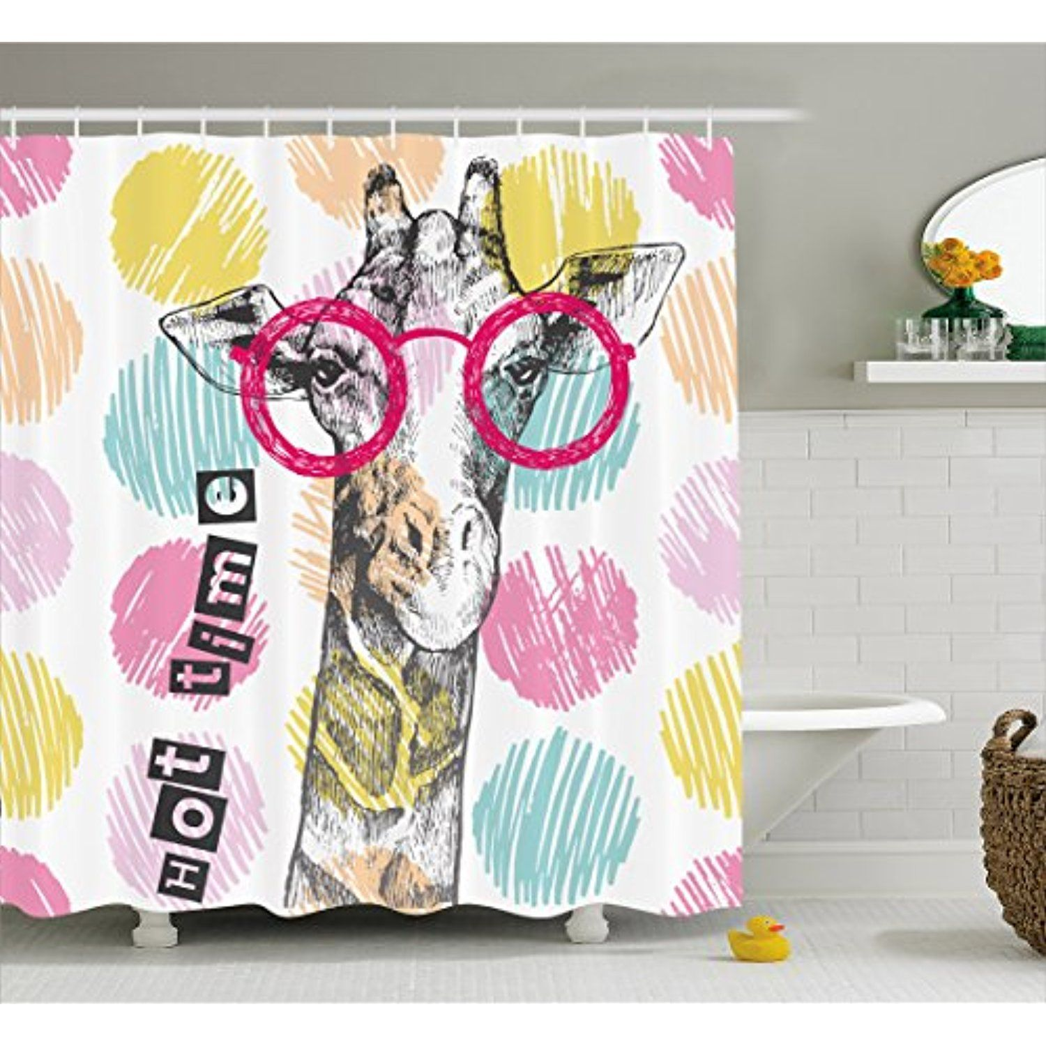 Giraffe Shower Curtain By Lunarable Vintage Hand Drawn Hipster