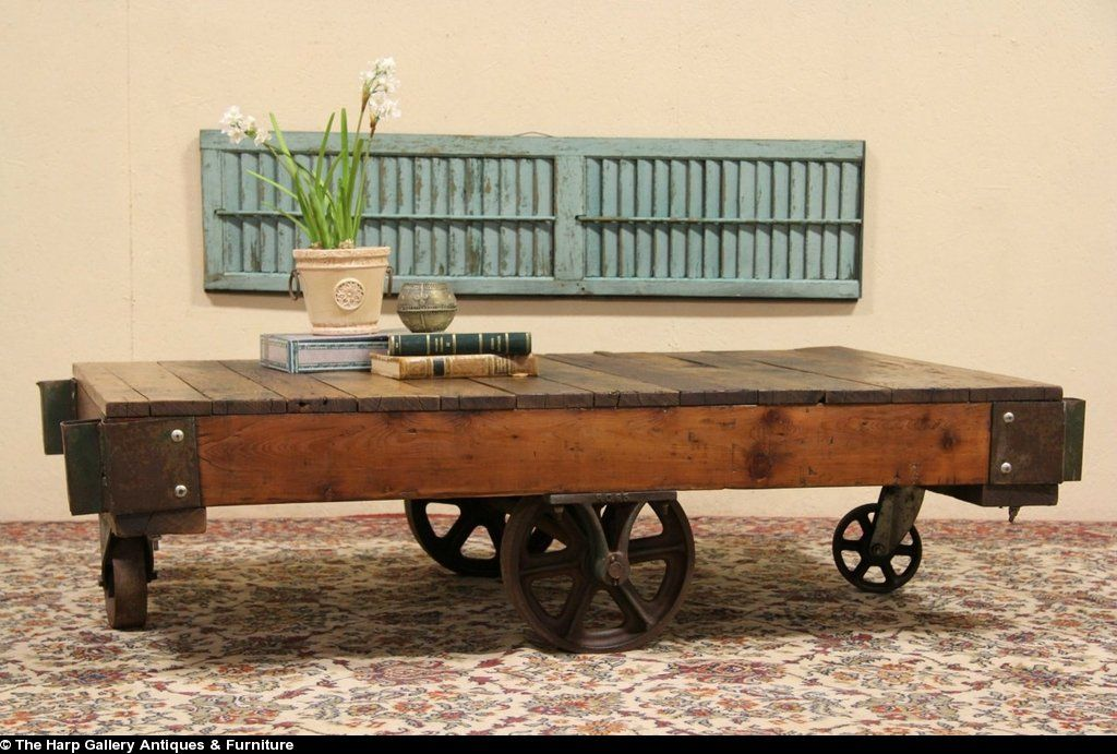 Industrial Salvage Antique Factory Cart Or Coffee Table