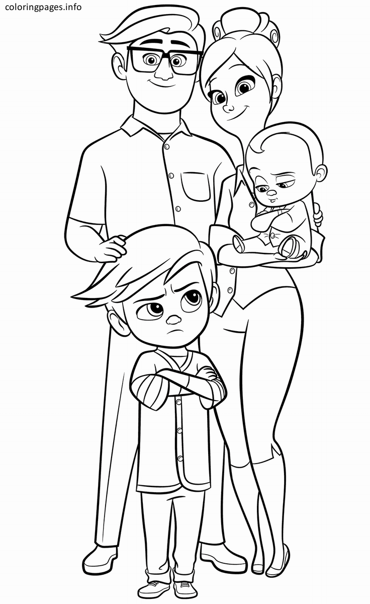 The Boss Baby Family Coloring Page Baby Coloring Pages Family Coloring Pages Coloring Pages