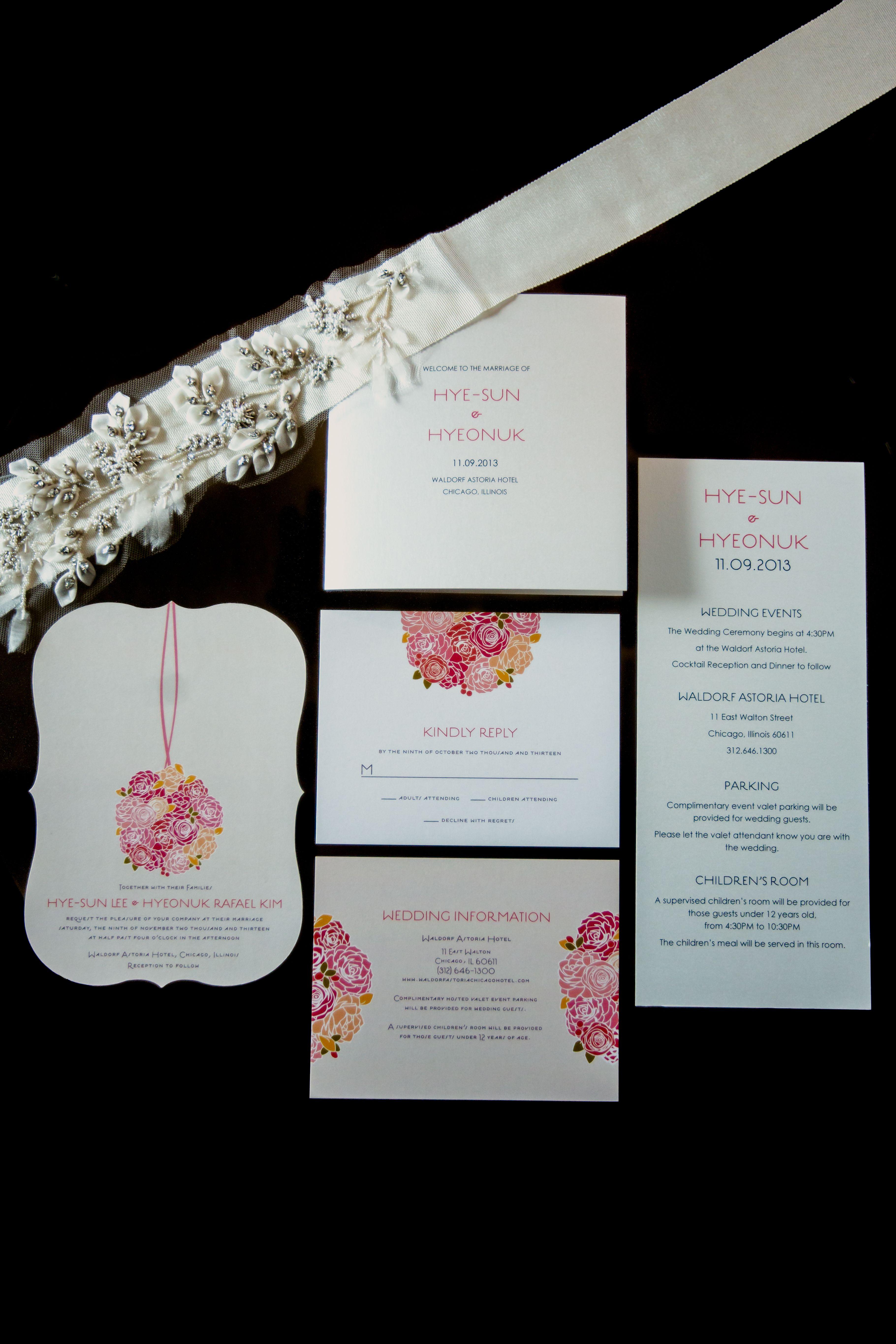 Rose Decorated Invitation Suite |  Kristin La Voie Photography | TheKnot.com
