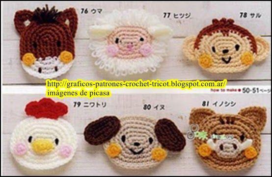 Tejidos A Crochet Ganchillo Patrones Caritas De Animales Tejidas A Crochet Animales De Ganchillo Colchas Tejidas A Gancho Caras De Animales