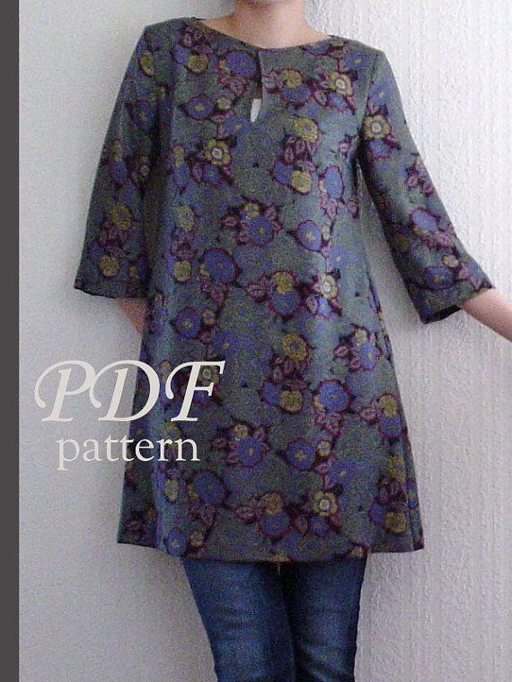 PDF Muster-Frauen-3/4 Ärmel Kleid Nähen-Größe: XS, S, M (3SW-W-D ...