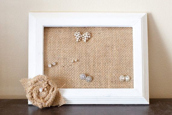 This Stud Holder Is Made With A White Painted Frame Burlap