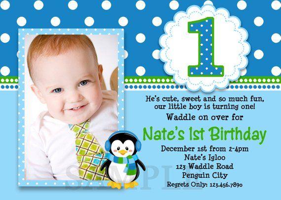 Penguin Birthday Invitation 1st Party Invites Printable Boys Or Girls
