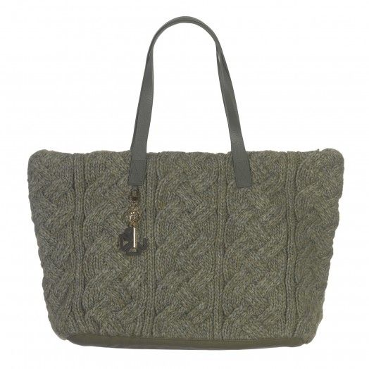 KNITTED FABRIC AND LEATHER TOTE BAG