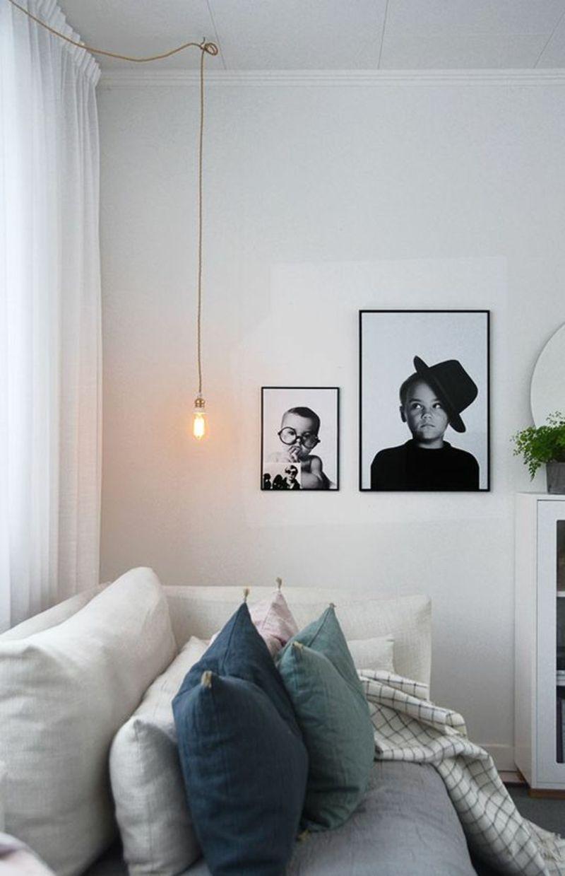Wohnung skandinavisch einrichten Sofakissen Bilder schwarz weiß ...