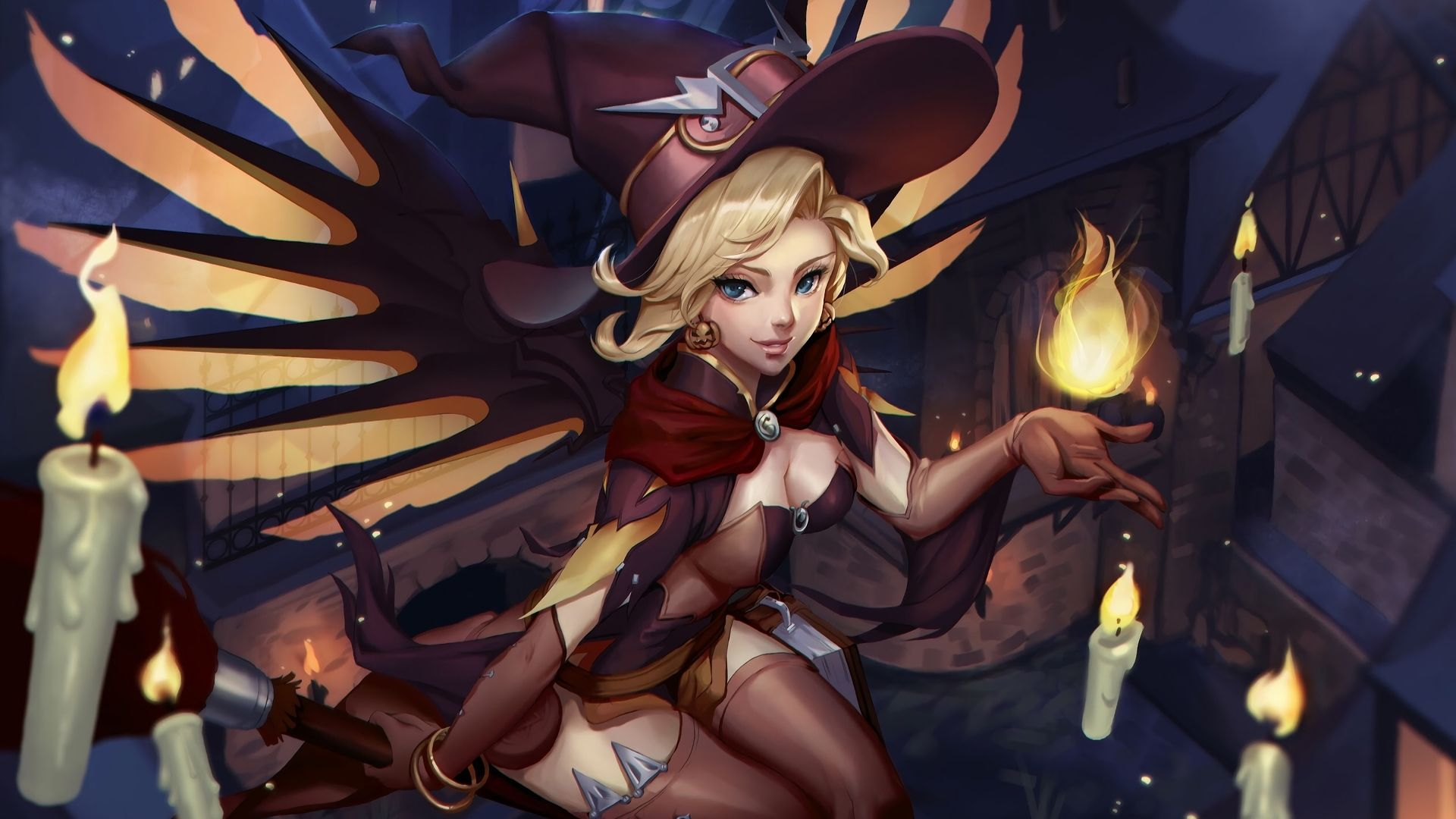 1920x1080 HD Wallpaper of Witch Mercy Overwatch Video Game.